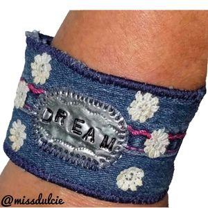 Rustic Boho Dream Bracelet Cuff Distressed Mantra